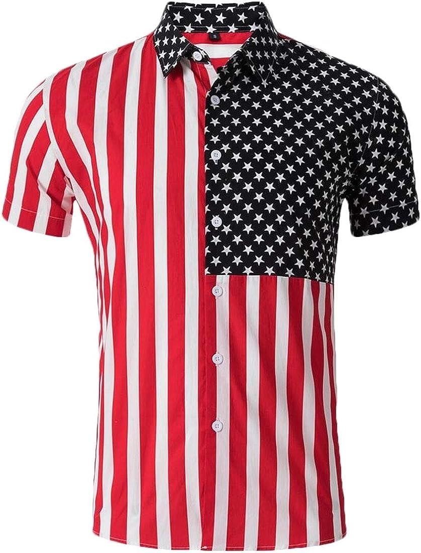 UNINUKOO Unko Mens American Flag Printed Desigen Casual Shirt Short Sleeve Button Down Shirts