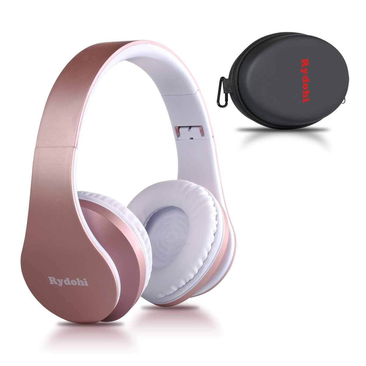 Bluetooth Headphones Over Ear, Rydohi Wireless Stereo Headset with Deep Bass, Foldable and Lightweight, Wired and Wireless Modes Built in Mic for Cell Phone, TV, PC- Rose Gold by Rydohi