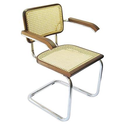 Awesome Marcel Breuer Cesca Cane Chrome Arm Chair In Walnut