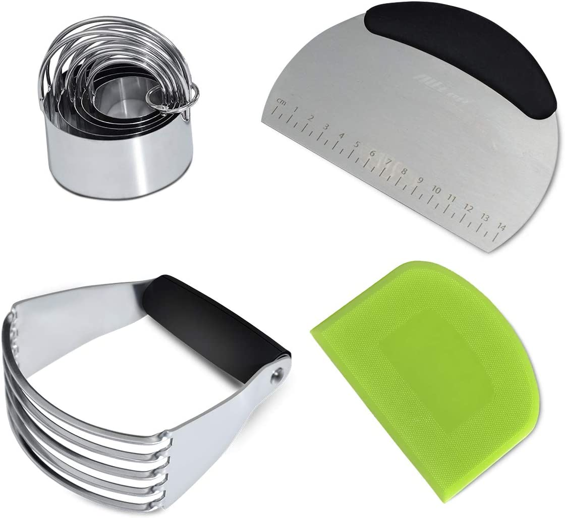 Dough Blender,Pastry Cutter,Biscuit Cutter and Flexible Bowl Scraper Set - 4 Pieces