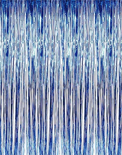Kicko Blue Foil Fringe Curtain - 2 Pack 3 X 8 Feet (36 X 96 Inches) Metallic Panels - for Parties, Photo Shoots, Weddings, Fiesta, Party Decoration, Cinco De Mayo, Props, Stage Backdrops]()