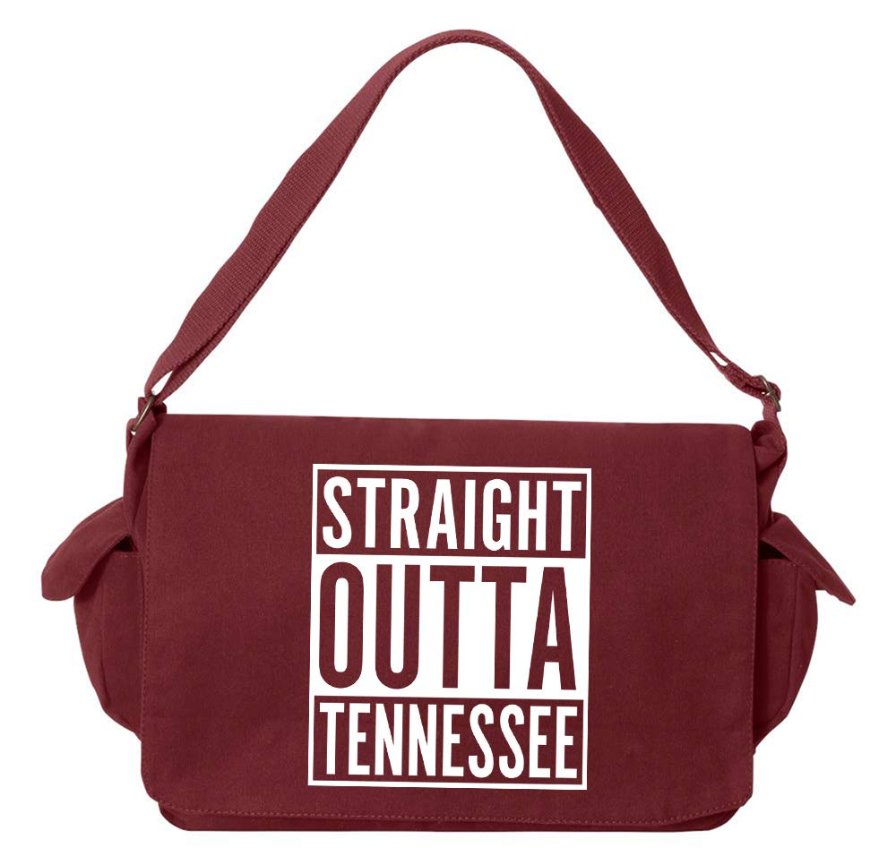 Tenacitee Straight Outta Tennessee Green Brushed Canvas Messenger Bag