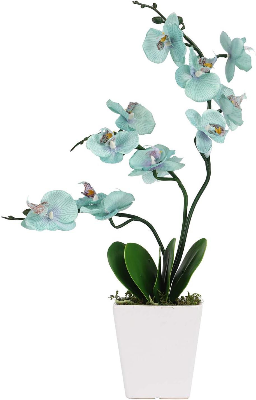 Artificial Table Orchid Flowers with Vase - Silk Indoor Decoration Blue Orchid Flower Plant Pot Faux Arrangements - Office Shelf Plants Potted Orchids Home Decorations Fake Floral - Teal Color