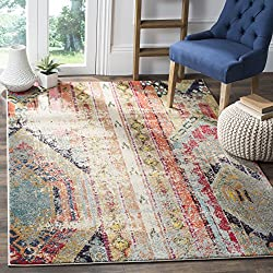 "Safavieh Monaco Collection MNC222F Modern Bohemian Multicolored Distressed Area Rug (4' x 5'7"")"