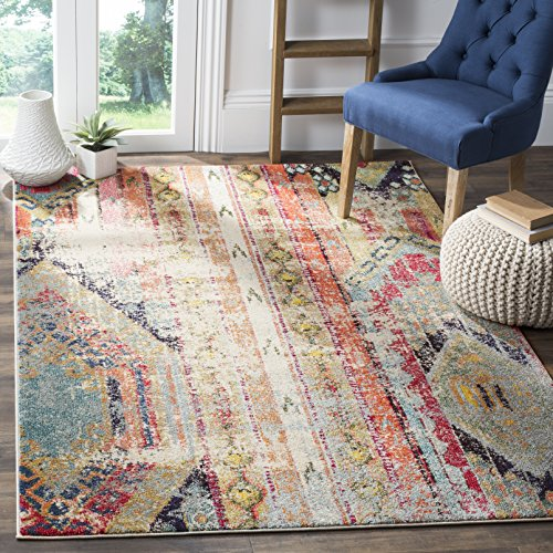 Safavieh Monaco Collection MNC222F Modern Bohemian Multicolored Distressed Area Rug (4