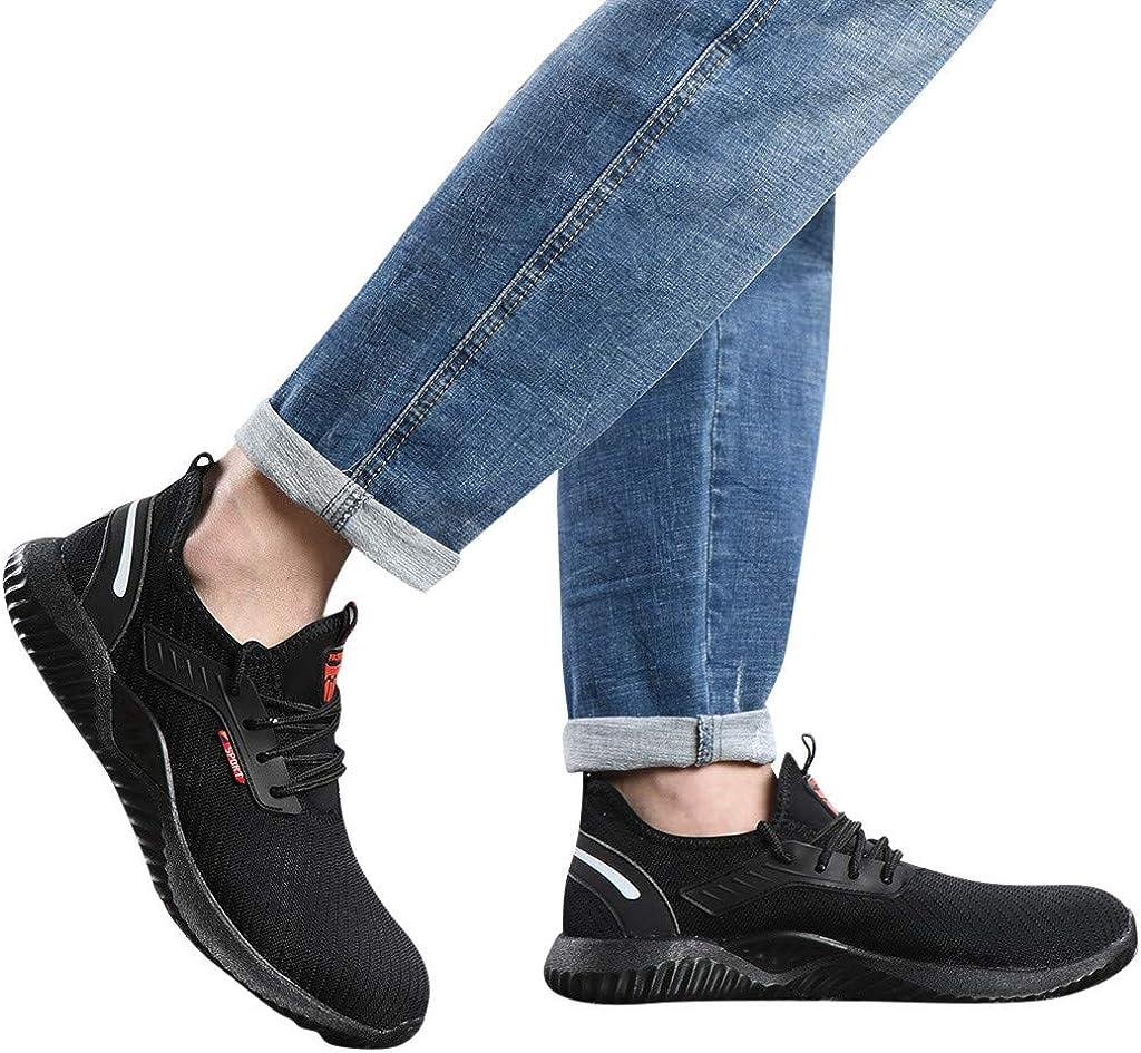 TANGTANGYI Chaussure de Securité Homme Femme Embout Acier Protection Antidérapant Anti-Perforation Chaussures de Travail Sport Basket Sneaker Running Respirante Noir