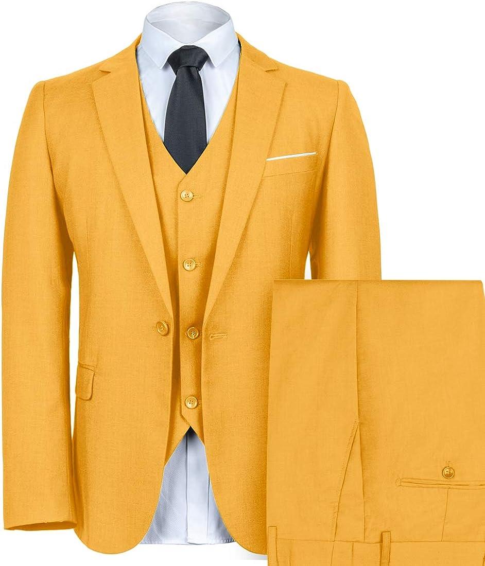 WEEN CHARM Mens Slim Fit Suit One Button Notch-Lapel 3 Pieces Suits Blazer Tux Vest /& Trousers