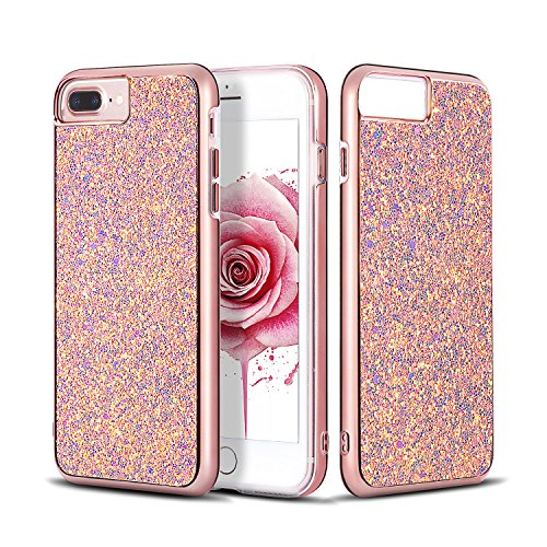 Sparkle Glittery - iPhone 8 Plus Case, 7 Plus Case, Glitter Bling Sparkly Dual Layer Hard PC Cover with Soft TPU Inner Shell Protective Cover Girls and Women Slim fit Apple iPhone 8/7/6s/6 Plus 5.5 Inch (Rose Gold)