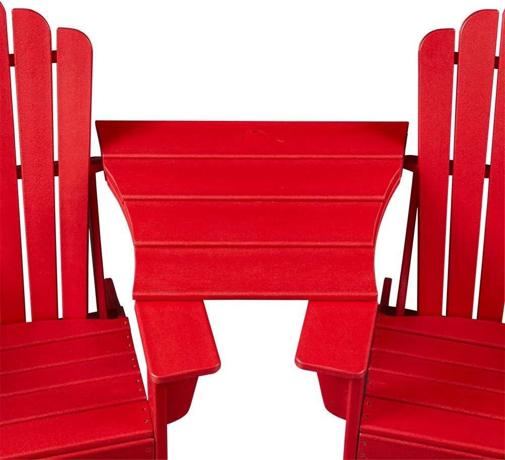 Ehomexpert Adirondack Chair Connecting Table, Weather Resistant Patio Furniture, Red