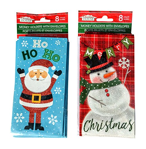 Santa and Snowman Money Holder Cards with Envelopes 16 count, 2 packs of 8 (Card Gift Santa Holder)