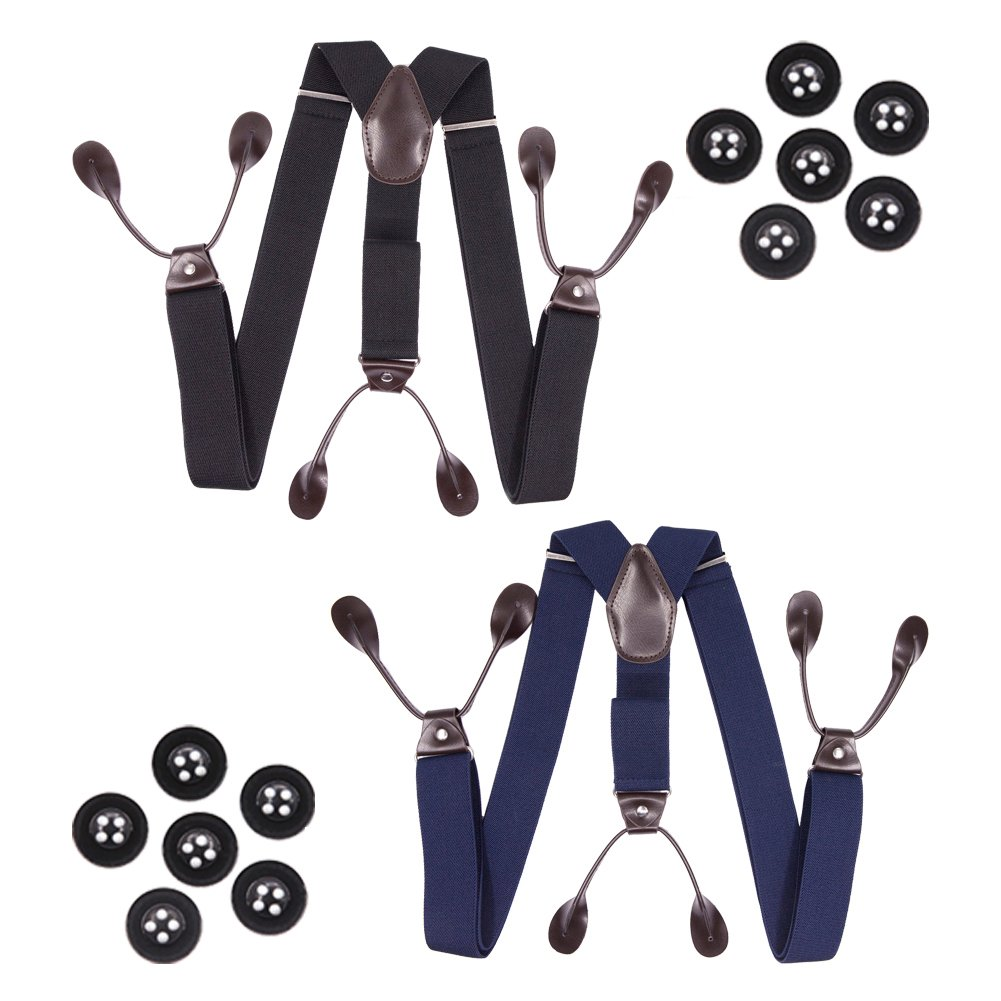 Hosenhan Mens Suspenders Button End 2 Pack Black and Navy Blue with Buttons Adjustable Elastic Trouser Braces Y Back Pants Suspenders Double Leather Loop Stretch Tuxedo Suspenders Straps