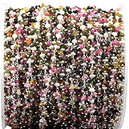 10 Ft Multi Tourmaline & Pearl Cluster Chain,2.5-3mm Silver Plated wire wrapped Rosary chain.(SPMT-30022)