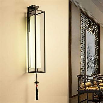 Aplique de pared LED, pasillo de hierro forjado, escalera de pasillo, dormitorio rectangular, mesita de noche, fondo de pared, negro, grande: Amazon.es: Iluminación