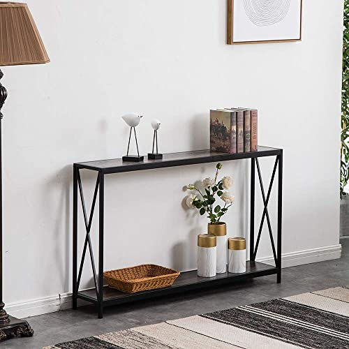 SSLine Grey Narrow Console Table with Storage Shelf 2-Tier Slim Entryway Accent Table X Design Sofa Side Table with Metal Frame MDF Wood Hallway Entry Table for Living Room Porch Doorway
