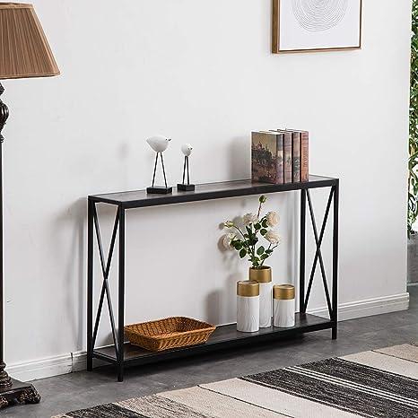 Amazon Com Ssline Grey Narrow Console Table With Storage Shelf 2 Tier Slim Entryway Accent X Design Sofa Side Metal Frame Mdf Wood Hallway Entry For Living Room Porch Doorway