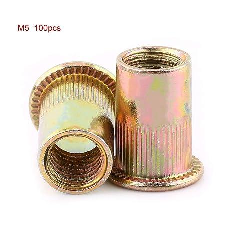 M3-M12 Tuercas de Remache Tuercas de Acero al Carbono Tuercas de Métrica Roscada Tuercas de Cabeza Plana(M5 100pcs)