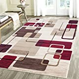 Contemporary Thin Squares Geometric Emerald Collection Area Rug by Rug Deal Plus (5' x 7', Beige/Red)