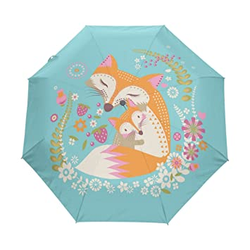 bennigiry paraguas Fox Love UV anti ligero sombrilla elegante reverso 3 plegable gota resistente paraguas Regalos