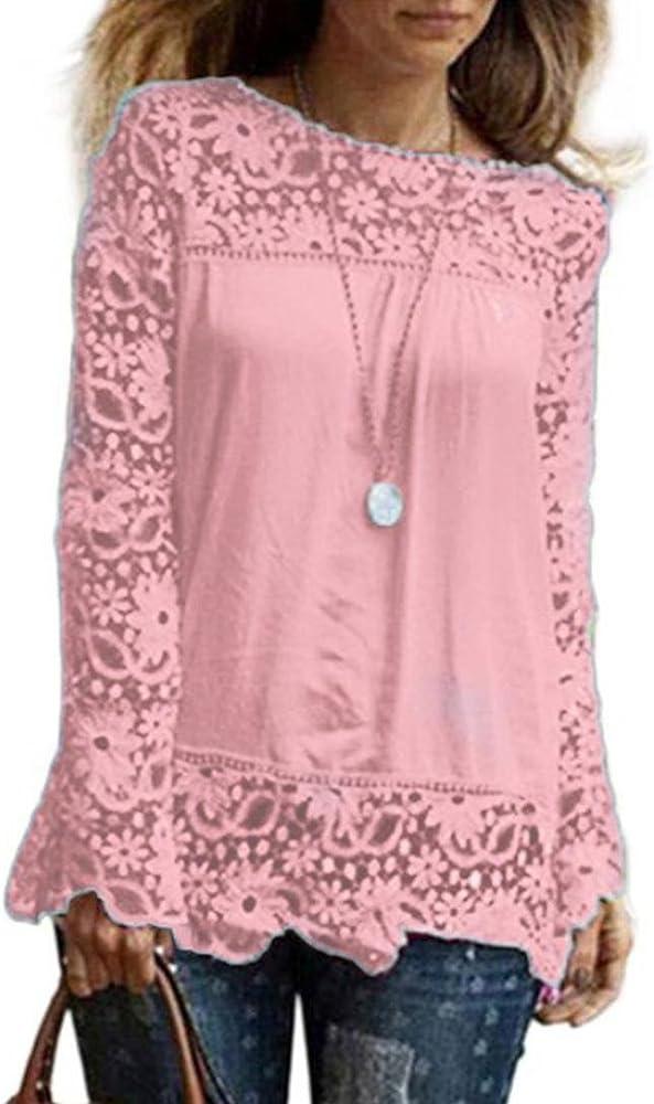 DOGZI Mujer Blusa Camisa Manga Larga para Gran tamaño Tops Blusa de Encaje Informal Blusa de algodón Suelta Camisa de chifón Encaje de Flores Calada Manga Casquillo de Hombro (S, Rosa): Amazon.es: