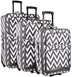 Ever Moda Chevron 3 Piece Luggage Set (Grey)