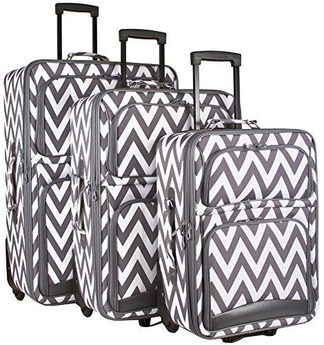 Ever Moda Chevron 3 Piece Luggage Set (Grey) by Ever Moda