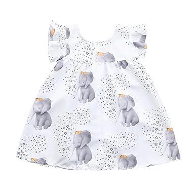 PAOLIAN Vestidos para Bebe Niñas Verano 2018 Vestidos Princesa Niñas bautiz Fiestas Impreso Elefante y Estrella