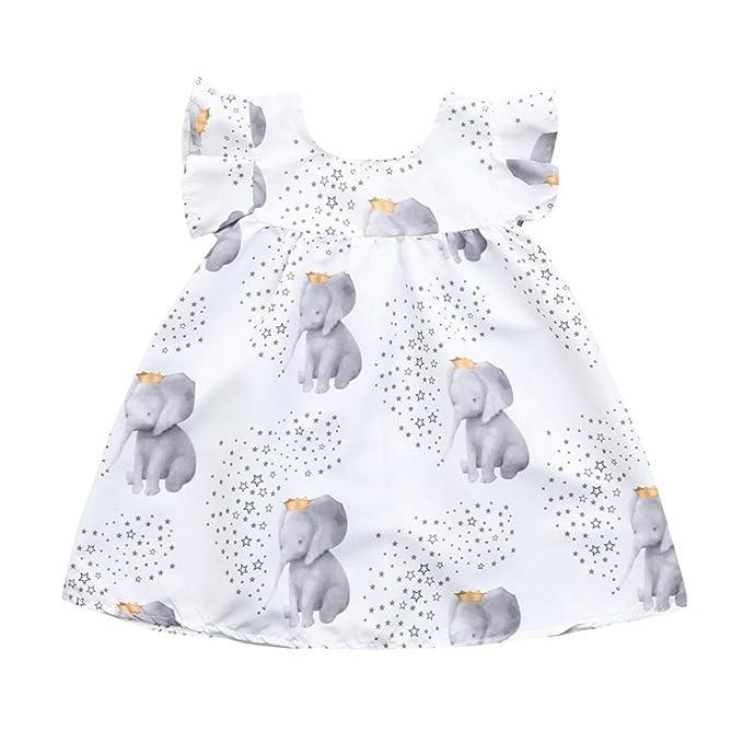 PAOLIAN Vestidos para Bebe Niñas Verano 2018 Vestidos Princesa Niñas bautiz  Fiestas Impreso Elefante y Estrella 8ea85053ea1