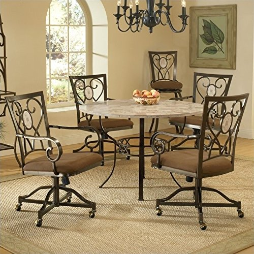 Hillsdale Furniture Brookside 5 Pc Round Dining Set w Oval Caster Chair