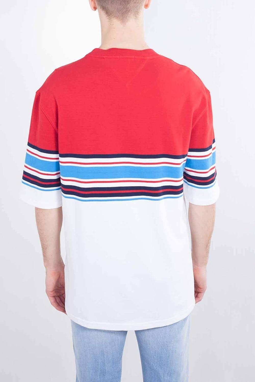 TOMMY JEANS Men - Oversize logo stripe colorblock T-Shirt - Size ...
