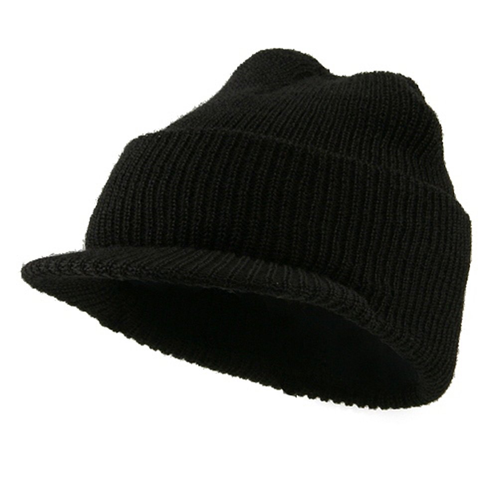Military Wool Jeep Cap - Black Unknown