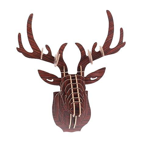 Vosarea 3D Animal Rompecabezas DIY Modelo de Madera Cabeza ...