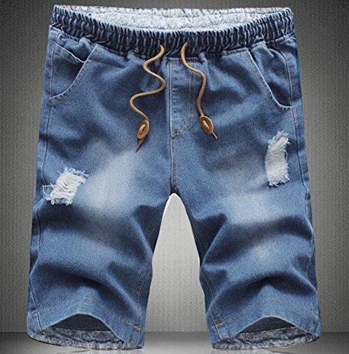 85%OFF Men casual Elastic waist jean shorts plus size denim Capri ...