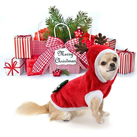 Feidaeu Navidad Perro Ropa Santa Traje para Chihuahua ...