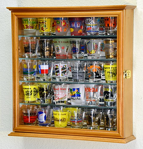 Shelf Glass Oak - Shot Glasses Display Case Holder Cabinet Wall Rack w/ Mirror Backed and 4 Glass Shelves -Oak