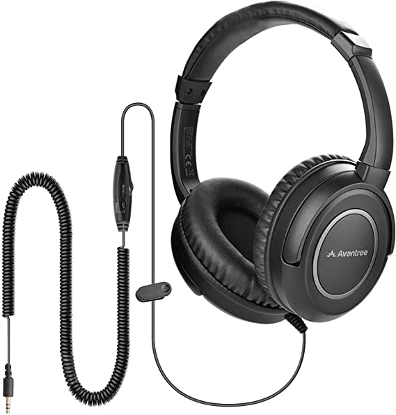 Avantree HF039 Long Coiled Cord Headphones for TV and PC with Volume Control