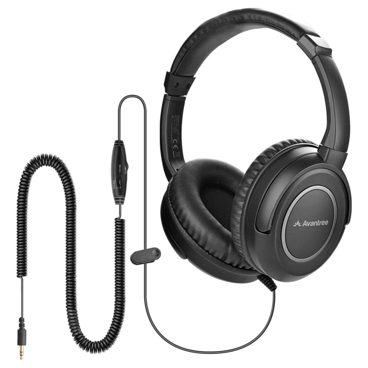 Avantree HF039 Long Coiled Cord Headphones for TV and PC with Volume Control, 16.4 Feet / 5M Extended Range Cable, 3.5mm AUX Audio, Stereo Sound Spiral Wired Over Ear Headphones