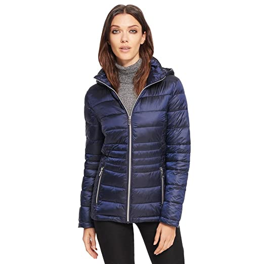 bc65ef5de Amazon.com: Black Rivet Womens Quilted Body Puffer Jacket W/Hood ...