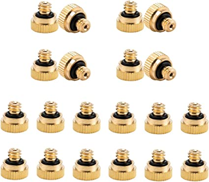 EONBON Misting Nozzles Kit 12pcs Brass Mister Nozzles 0.4mm Orifice Thread 10//24 UNC with 10pcs 1//4 Slip-Lock Misting Nozzle Tees and 1 x Plug for Outdoor Patio Misting Cooling System