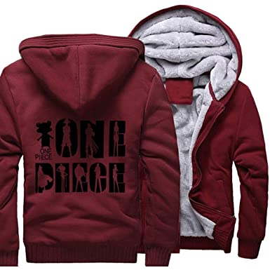 Amazon.com: One Piece Hoodie Men Sweatshirt Coat Warm Fleece Luffy The Pirate King Jacket: Clothing