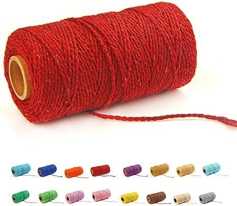 100 yardas/2 mm/19 colores) cordón de macramé para manualidades, macramé, cuerda de algodón natural, para hacer manualidades, cuerda de tejer, bricolaje, decoración de boda.: Amazon.es: Juguetes y juegos