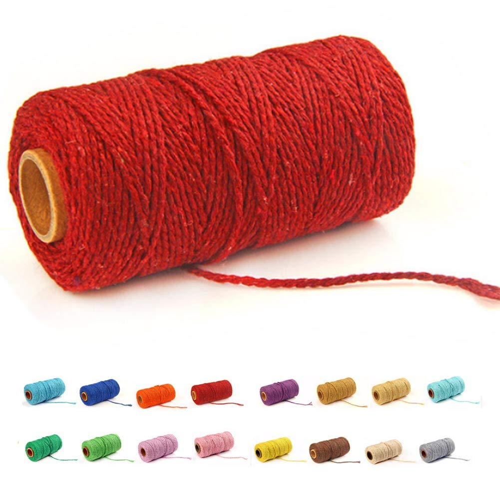 Beige 100 Yards//2mm//19 Colors 100 DIY Macrame Cord Craft Macram/é Cotton Baker Twine Craft Making Knitting String Rope DIY Wedding Decor Supply Christmas Wrapping