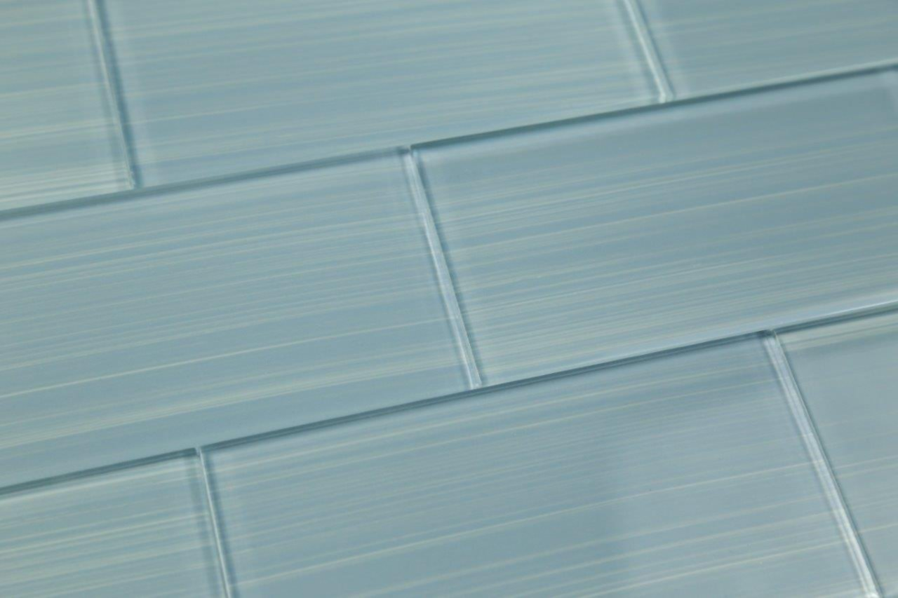 Haven Light Blue, Hand Painted Glass Tile. Perfect for kitchens and bathrooms., 3x6 (10 Sq Ft Box)