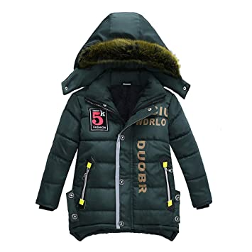 3e282975a Amazon.com  Baby Boys Girls Winter Coat With Fur Plush Zipper Hooded ...