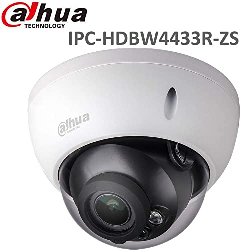 Dahua 4MP Dome POE IP Camera IPC-HDBW4433R-ZS,2.7-12mm Motorized Varifocal Lens Optical Zoom,IR Day and Night,SD Slot,Outdoor Security Surveillance Camera H.265 ONVIF