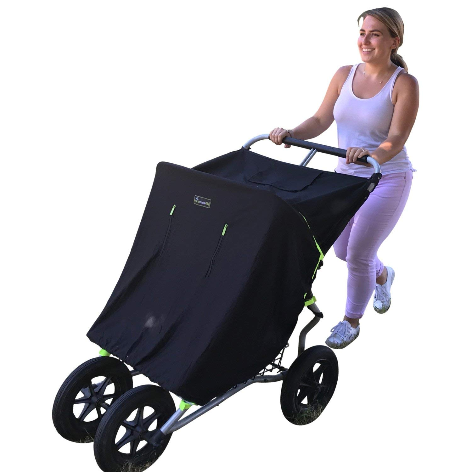 Double Stroller Cover & Sun Shade | Award-Winning Blackout Blind and Baby Sleep Aid | Stops 99% of The Sun's Rays | Lets Your Babies nap Safely Anywhere | Universal Fit | SnoozeShade Twin