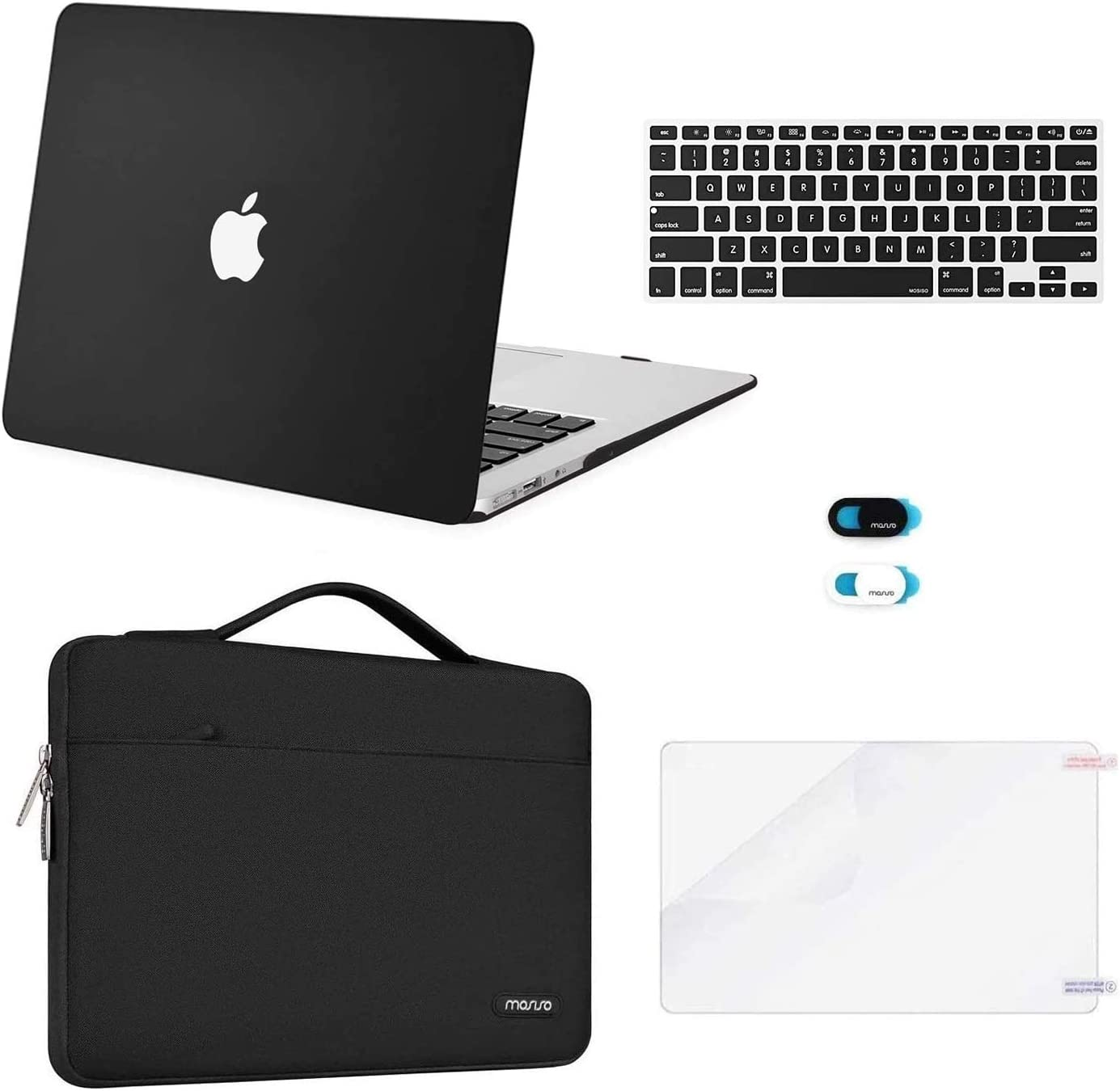 MOSISO Compatible with MacBook Air 13 inch Case (A1369 A1466, Older Version 2010-2017 Release), Plastic Hard Shell Case & Sleeve Bag & Keyboard Cover & Webcam Cover & Screen Protector, Black
