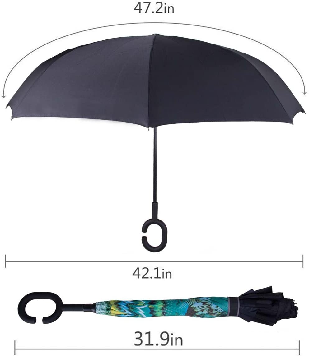 Double Layer Inverted Inverted Umbrella Is Light And Sturdy Bears Loves Embrace Sitting Front Window Reverse Umbrella And Windproof Umbrella Edge Nig