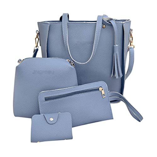 Zengbang Mujeres Bolso de Bandolera 4 Piezas PU Cuero Carteras Bolso de Mano Bolsa de Mensajero Azul: Amazon.es: Zapatos y complementos