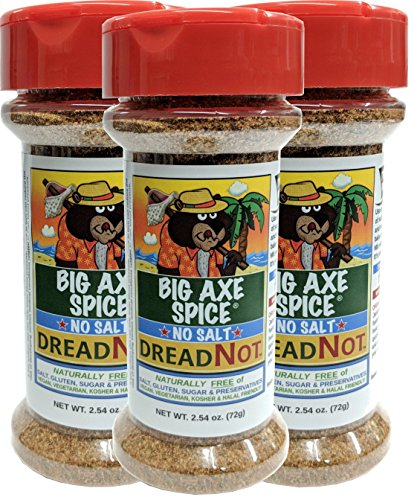Big Axe Spice COMBO DreadNot 3-PACK: Sodium Free Jamaican Jerk / Caribbean Seasoning Spice Blend / FREE of Salt, Sugar, Gluten and Preservatives~ Vegetarian Vegan Paleo Kosher & Halal Friendly