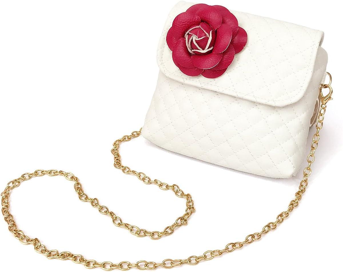 Elesa Miracle Kids Girl Quilted Leather Crossbody Handbag Purse, Chain Bag Little Girl Metal Chain Strap Bag